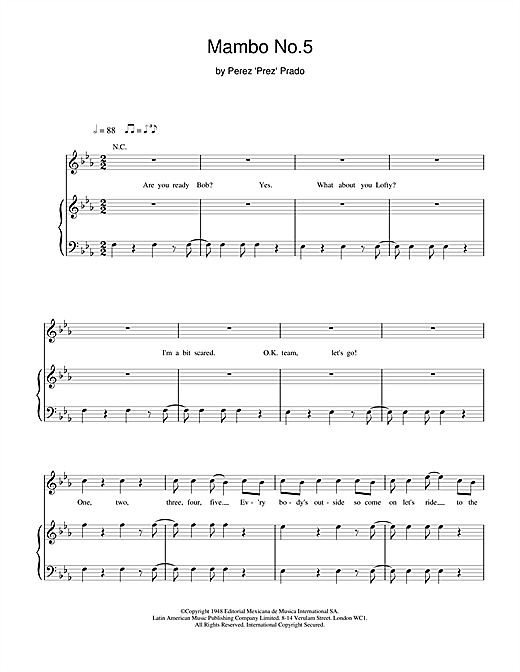 Bob the Builder Mambo No. 5 (A Little Bit Of... ) sheet music notes and chords