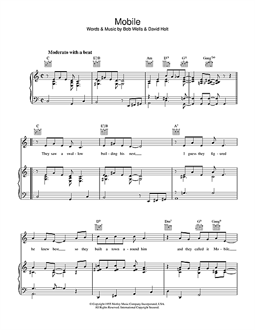 Bob Wells Mobile sheet music notes and chords. Download Printable PDF.