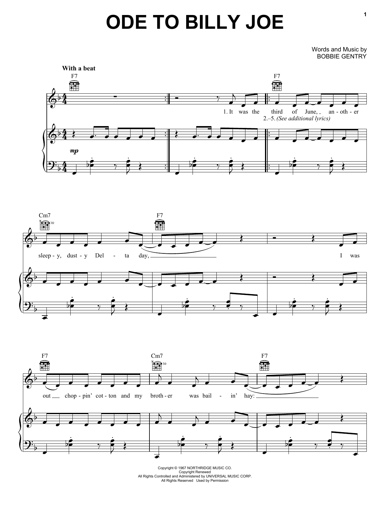 Bobbie Gentry Ode To Billy Joe sheet music notes and chords. Download Printable PDF.