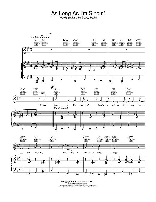 Bobby Darin As Long As I'm Singing sheet music notes and chords. Download Printable PDF.