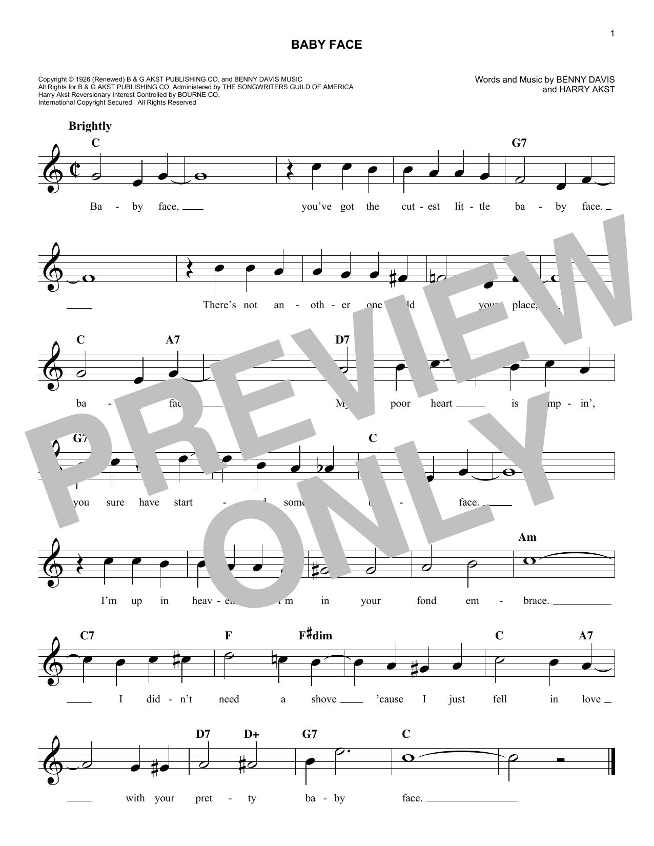 Bobby Darin Baby Face sheet music notes and chords. Download Printable PDF.