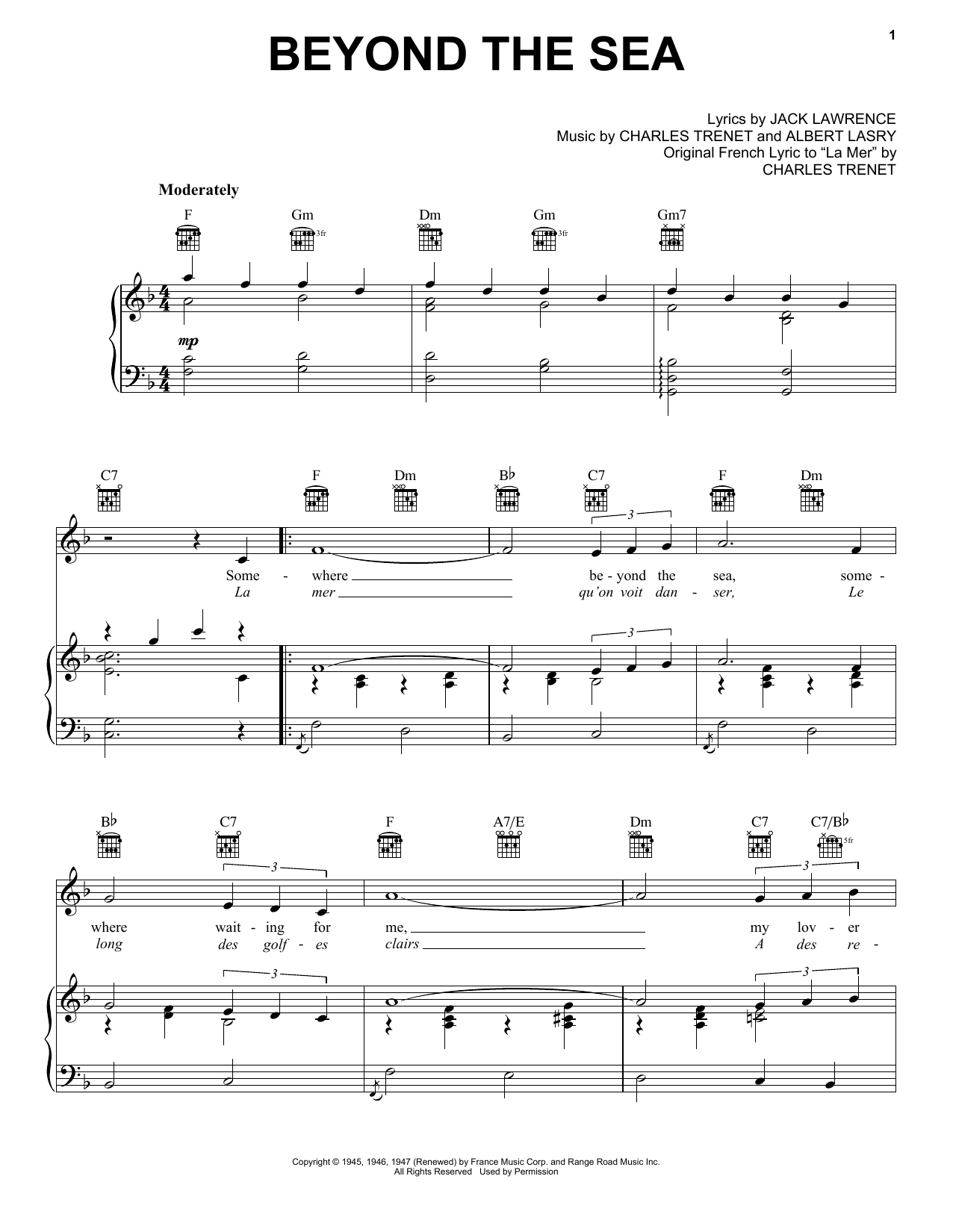 Bobby Darin Beyond The Sea sheet music notes and chords. Download Printable PDF.