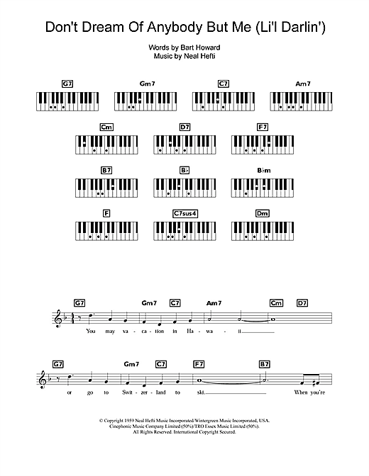Bobby Darin Don't Dream Of Anybody But Me (Li'l Darlin') sheet music notes and chords. Download Printable PDF.