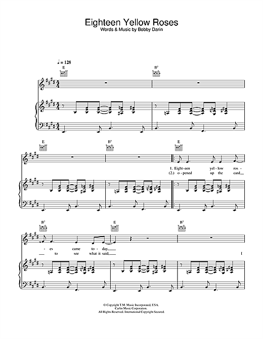 Bobby Darin Eighteen Yellow Roses sheet music notes and chords. Download Printable PDF.