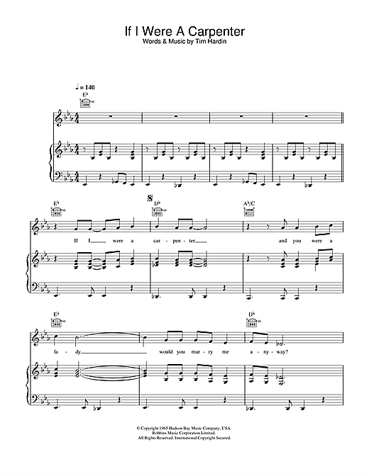 Bobby Darin If I Were A Carpenter sheet music notes and chords. Download Printable PDF.