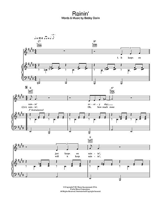 Bobby Darin Rainin' sheet music notes and chords. Download Printable PDF.