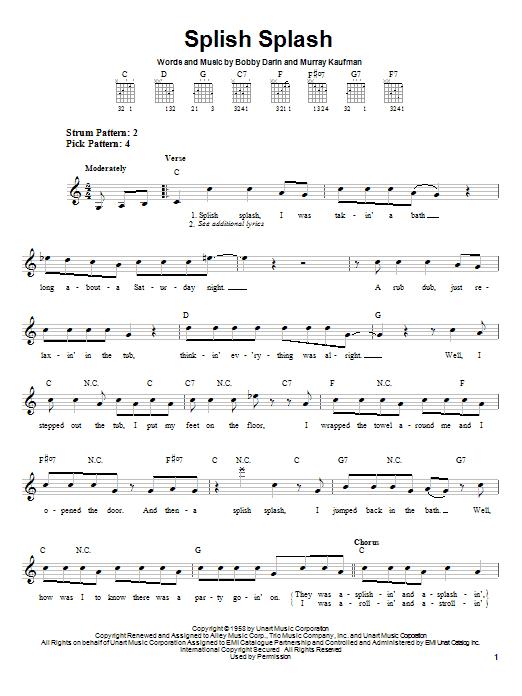 Bobby Darin Splish Splash sheet music notes and chords. Download Printable PDF.