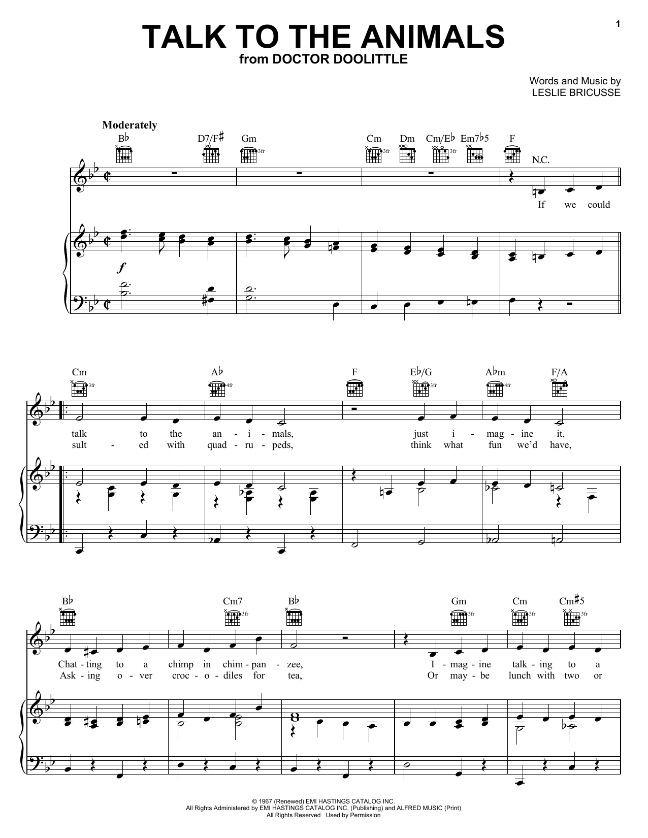 Bobby Darin Talk To The Animals sheet music notes and chords. Download Printable PDF.