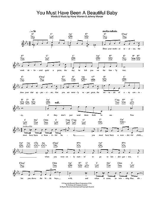 Bobby Darin You Must Have Been A Beautiful Baby sheet music notes and chords. Download Printable PDF.