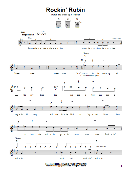 Bobby Day Rockin' Robin sheet music notes and chords. Download Printable PDF.