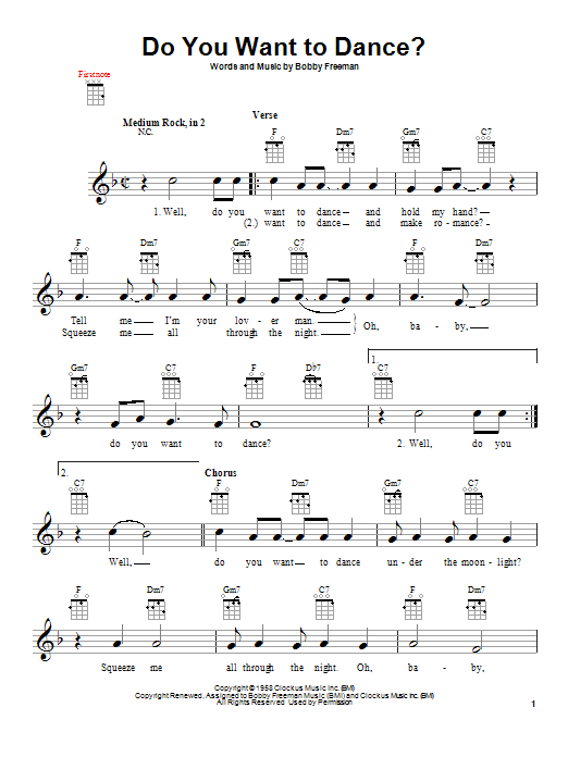 Bobby Freeman Do You Want To Dance? sheet music notes and chords. Download Printable PDF.