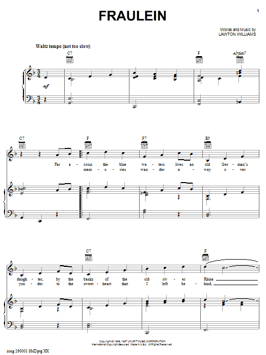 Bobby Helms Fraulein sheet music notes and chords