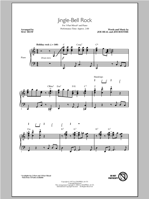 Bobby Helms Jingle Bell Rock (arr. Mac Huff) sheet music notes and chords