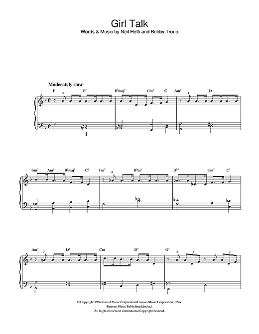 Bobby Troup Girl Talk sheet music notes and chords. Download Printable PDF.
