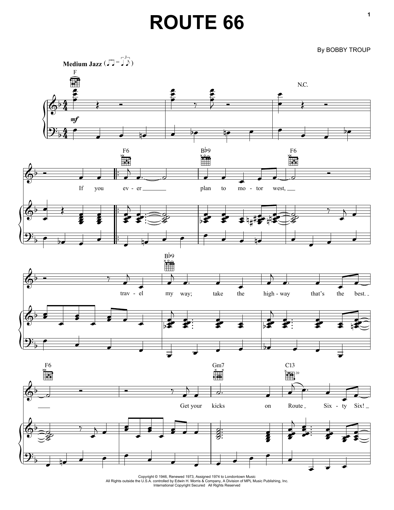 Bobby Troup Route 66 sheet music notes and chords. Download Printable PDF.