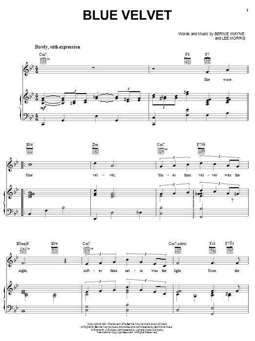 Bobby Vinton Blue Velvet sheet music notes and chords. Download Printable PDF.