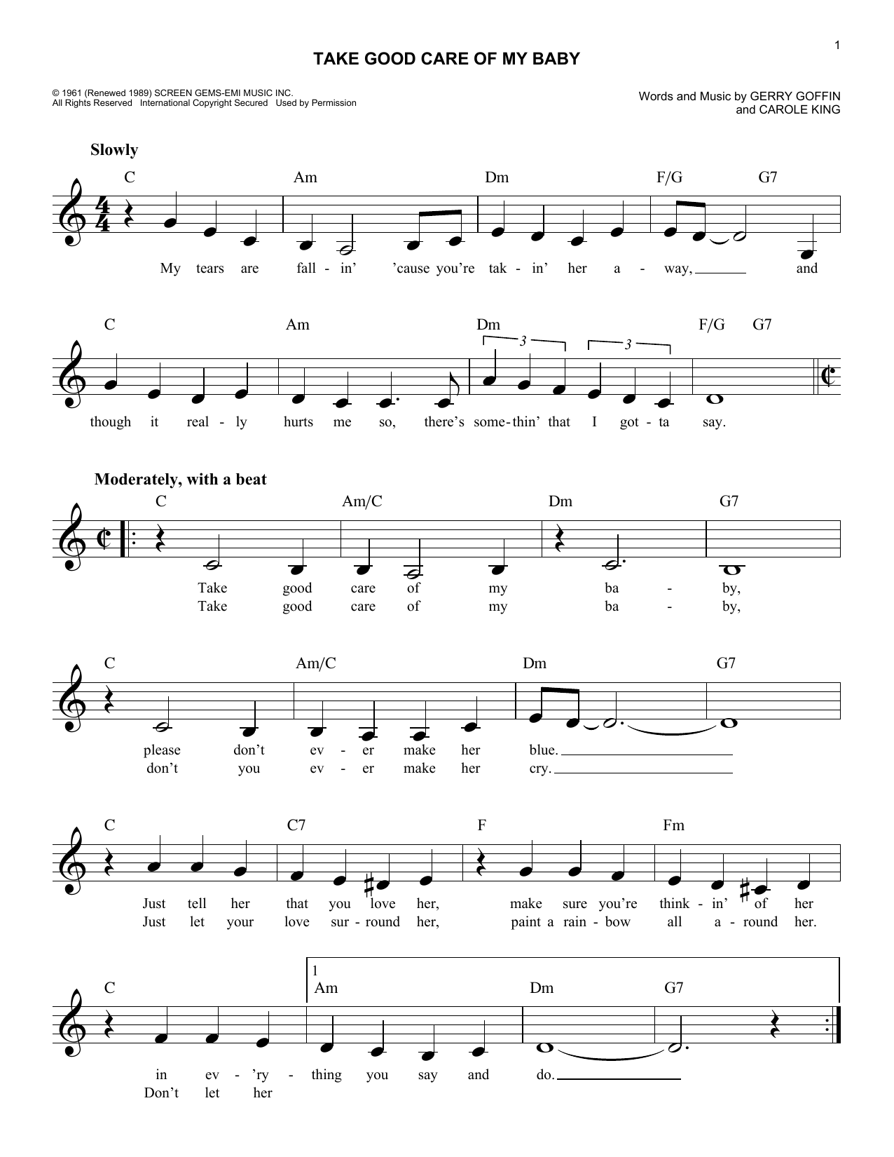 Bobby Vinton Take Good Care Of My Baby sheet music notes and chords. Download Printable PDF.