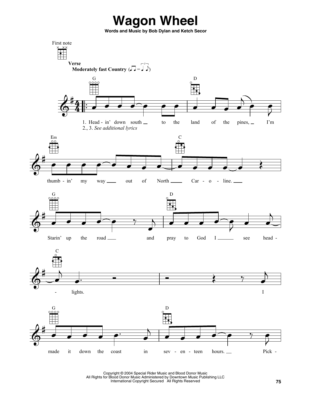 Boby Dylan 'Wagon Wheel' Sheet Music Notes, Chords | Download Printable  Banjo Tab - SKU: 414956