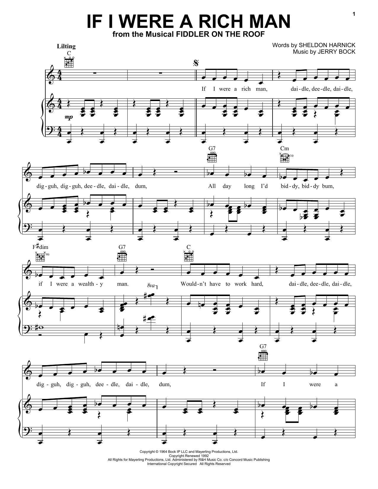 Bock & Harnick If I Were A Rich Man (from Fiddler On The Roof) sheet music notes and chords. Download Printable PDF.