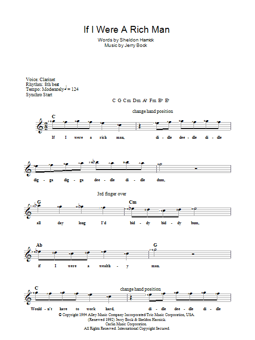 Jerry Bock If I Were A Rich Man (from The Fiddler On The Roof) sheet music notes and chords. Download Printable PDF.