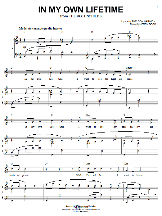Bock & Harnick In My Own Lifetime sheet music notes and chords. Download Printable PDF.