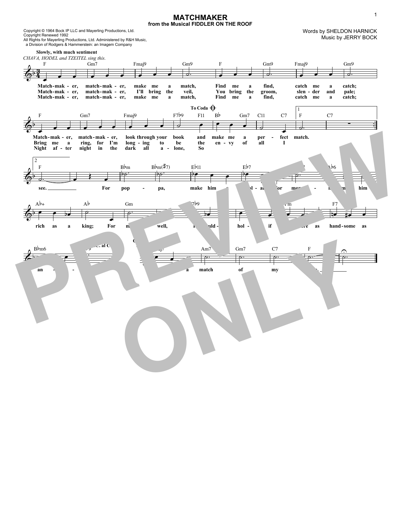 Bock & Harnick Matchmaker (from Fiddler On The Roof) sheet music notes and chords. Download Printable PDF.