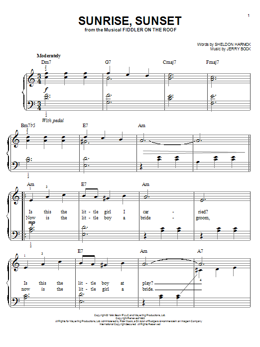 Bock & Harnick Sunrise, Sunset sheet music notes and chords. Download Printable PDF.
