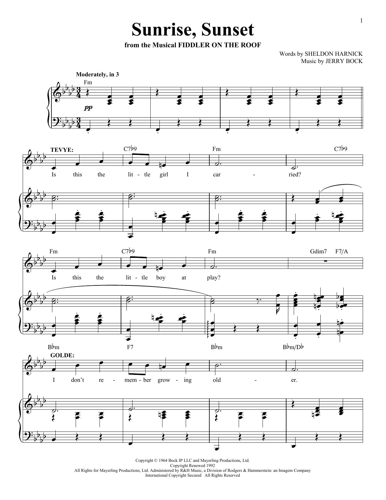 Bock & Harnick Sunrise, Sunset (from Fiddler On The Roof) sheet music notes and chords