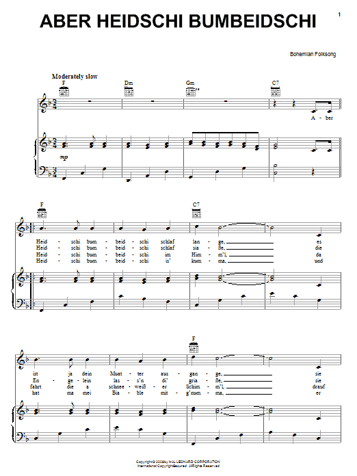 Bohemian Folksong Aber Heidschi Bumbeidschi sheet music notes and chords. Download Printable PDF.