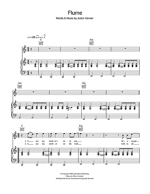 Bon Iver Flume sheet music notes and chords. Download Printable PDF.