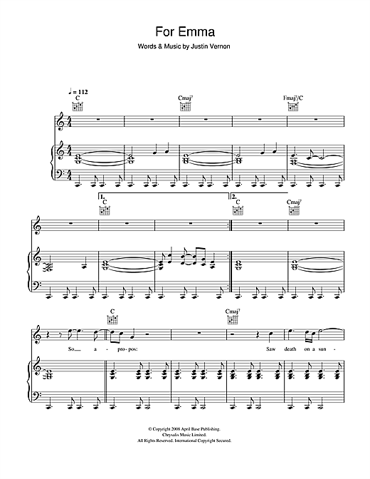 Bon Iver For Emma sheet music notes and chords. Download Printable PDF.