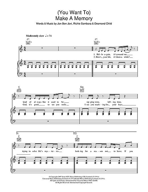 Bon Jovi (You Want To) Make A Memory sheet music notes and chords. Download Printable PDF.