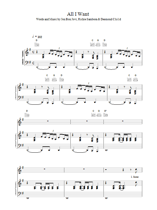 Bon Jovi All I Want Is Everything sheet music notes and chords. Download Printable PDF.