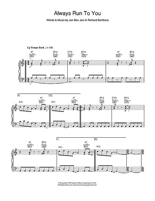 Bon Jovi Always Run To You sheet music notes and chords. Download Printable PDF.
