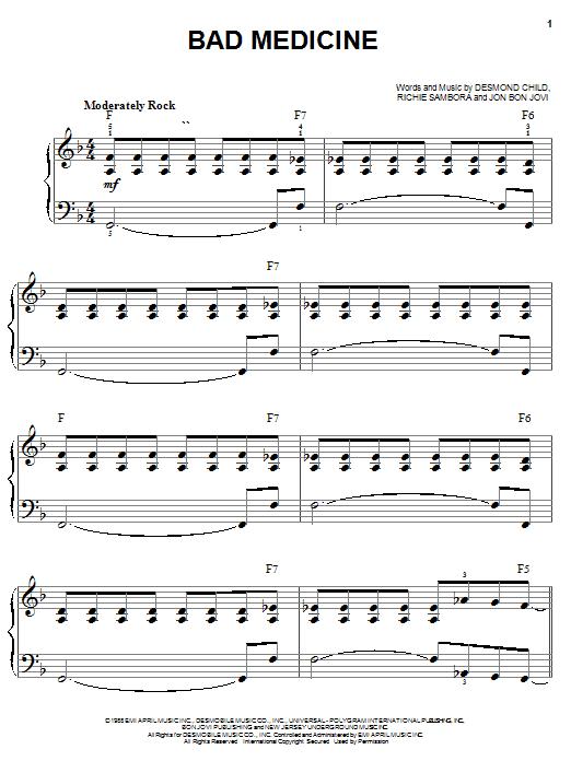 Bon Jovi Bad Medicine sheet music notes and chords. Download Printable PDF.