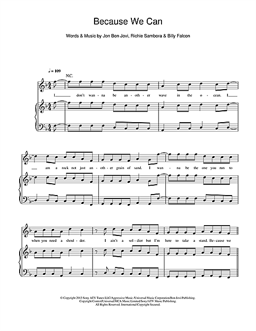 Bon Jovi Because We Can sheet music notes and chords. Download Printable PDF.