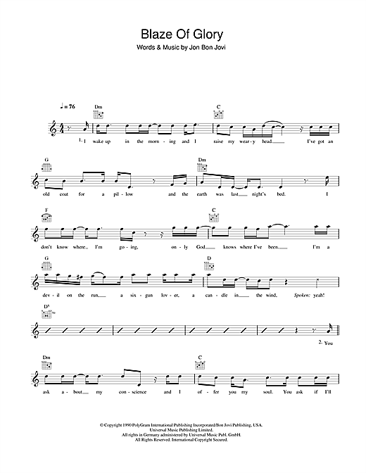 Bon Jovi Blaze Of Glory sheet music notes and chords. Download Printable PDF.