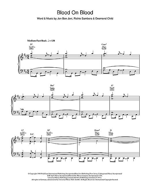 Bon Jovi Blood On Blood sheet music notes and chords. Download Printable PDF.