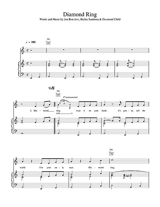 Bon Jovi Diamond Ring sheet music notes and chords. Download Printable PDF.