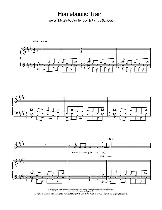 Bon Jovi Homebound Train sheet music notes and chords. Download Printable PDF.