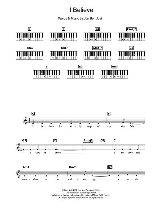 Bon Jovi I Believe sheet music notes and chords. Download Printable PDF.