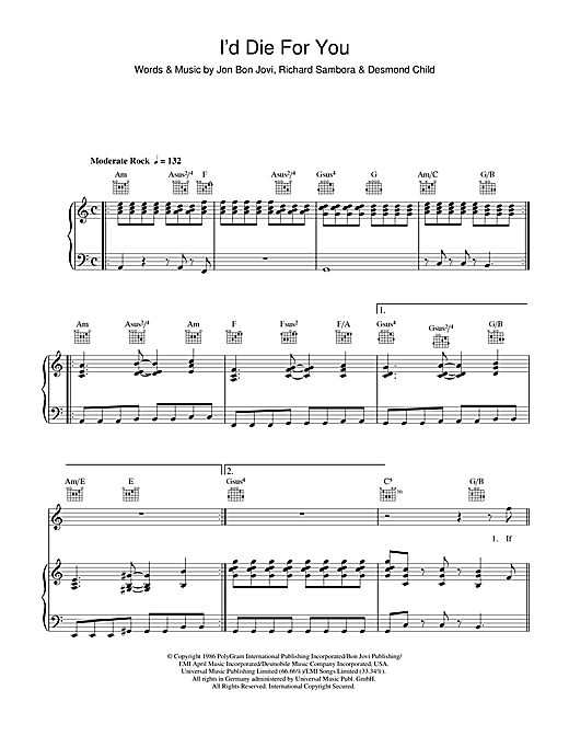 Bon Jovi I'd Die For You sheet music notes and chords. Download Printable PDF.