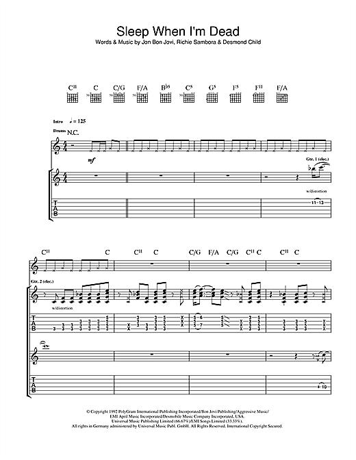 Bon Jovi I'll Sleep When I'm Dead sheet music notes and chords. Download Printable PDF.