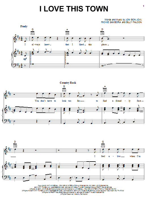 Bon Jovi I Love This Town sheet music notes and chords. Download Printable PDF.