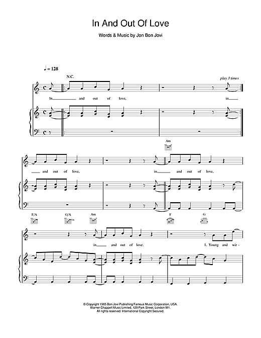 Bon Jovi In And Out Of Love sheet music notes and chords. Download Printable PDF.