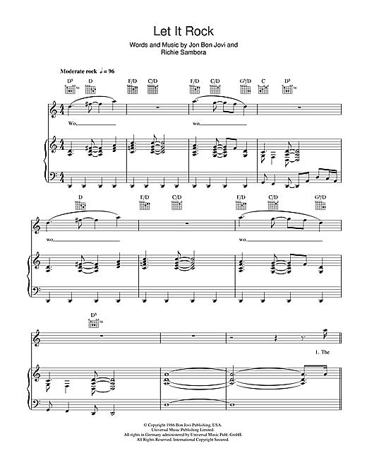 Bon Jovi Let It Rock sheet music notes and chords. Download Printable PDF.