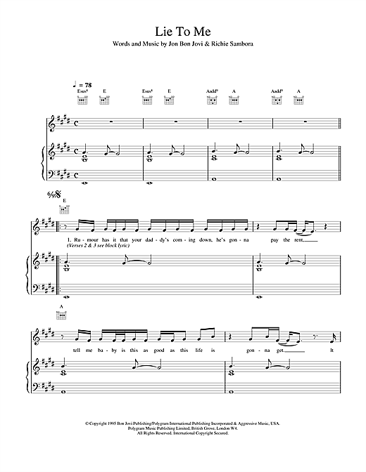 Bon Jovi Lie To Me sheet music notes and chords