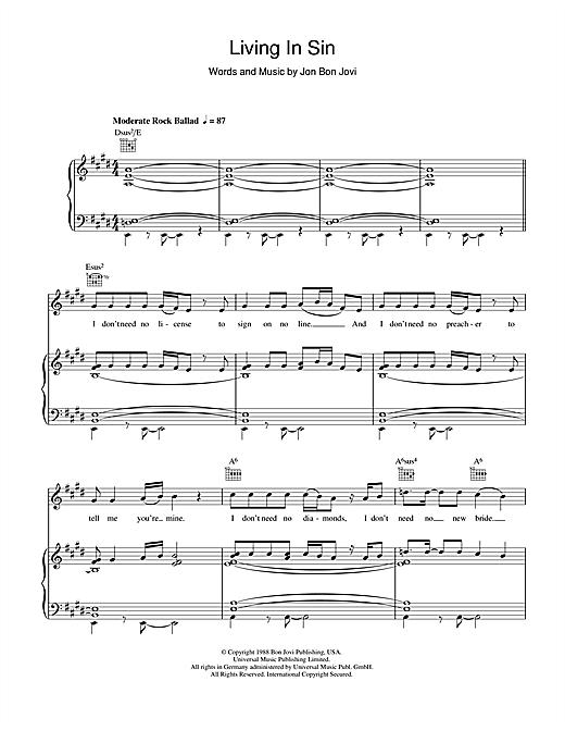 Bon Jovi Living In Sin sheet music notes and chords. Download Printable PDF.