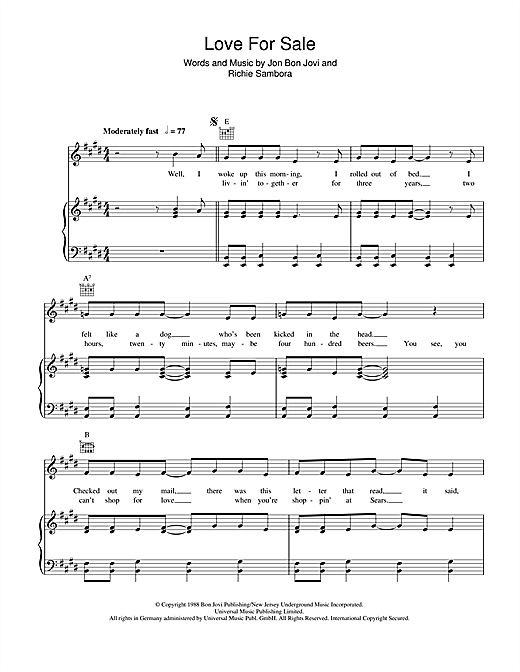 Bon Jovi Love For Sale sheet music notes and chords. Download Printable PDF.