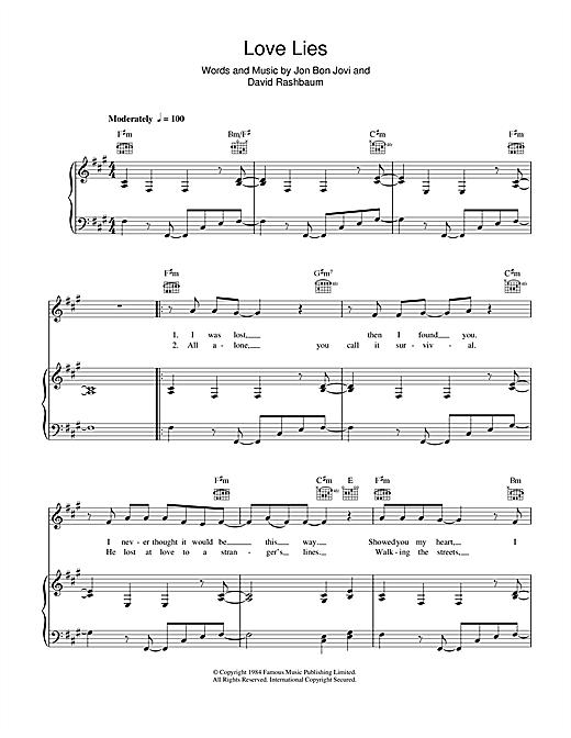Bon Jovi Love Lies sheet music notes and chords. Download Printable PDF.